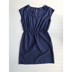 Banana Republic Petite Navy Diamond Cut Out Dress